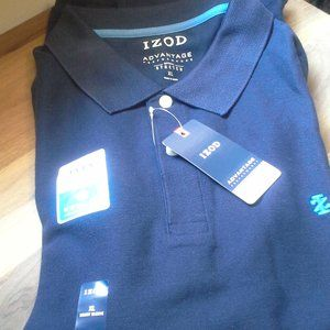 NEW IZOD SHORT SLEEVES POLO SHIRT DARK NAVY BLUE